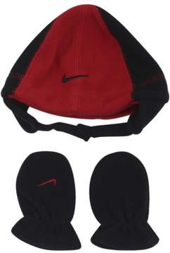 Nike Infant Boy's Swoosh Logo 2-Piece Red Beanie Hat & Mittens Set Sz: 12-24M