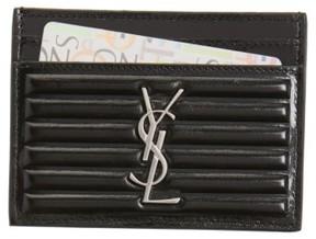 Saint Laurent Women's Opium Textured Leather Card Case - Black - BLACK - STYLE