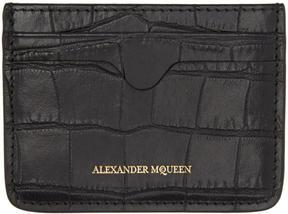 Alexander McQueen Black Croc-Embossed Card Holder