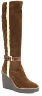 Aquatalia Viviana Suede & Faux Fur Wedge Boots