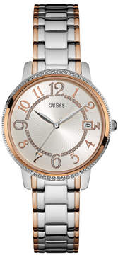 GUESS Kismet Silver and Rose Gold-Tone Midsize Watch