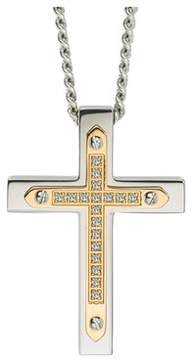 Armani Exchange Jewelry Diamond Cross Pendant In Stainless Steel (0.10 Carats).