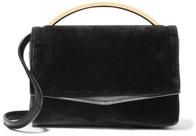 Eddie Borgo Boyd Vanity Leather-Trimmed Velvet Shoulder Bag