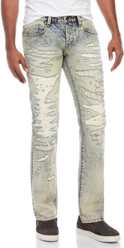 Cult of Individuality Rebel Straight Fit Patch-and-Repair Jeans