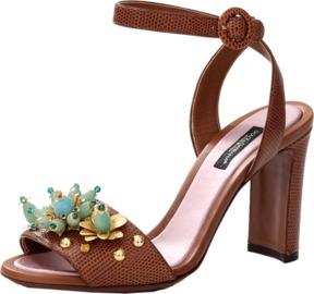 DOLCE & GABBANA Block Heel With Floral Rhinestones