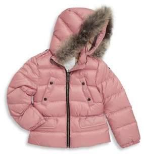 Burberry Little Girl's & Girl's Down-Filled Fox Fur Puffer Jacket
