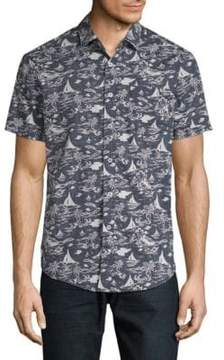 Report Collection Island Tropical Cotton Button-Down Shirt