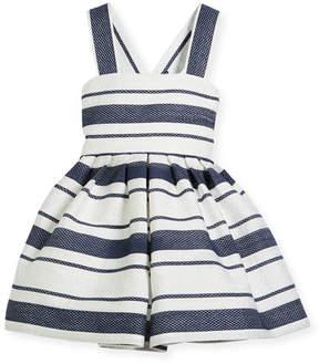 Helena Sophisticated Stripe Cross-Back Dress, Size 2-6