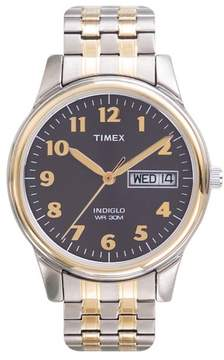 Timex Men's Easy Reader Watch, Two-Tone Extra-Long Stainless Steel Expansion Band