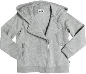Molo Hooded Cotton Biker Sweatshirt