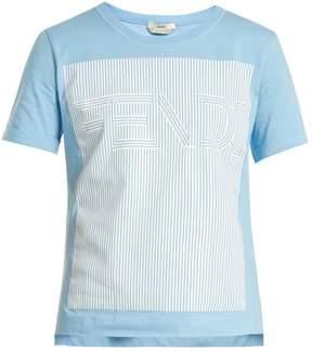 Fendi Striped logo-print cotton-jersey T-shirt
