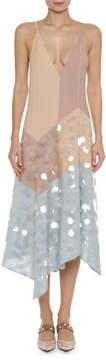 Bottega Veneta Plunging V-Neck A-Line Camisole Dress with Large Paillettes