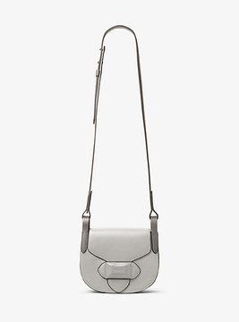 Michael Kors Daria Small French Calf Leather Saddlebag - GREY - STYLE