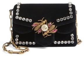 Gucci Broadway Bee Velvet Shoulder Bag - Black - BLACK - STYLE