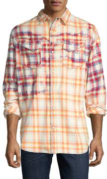 Cult of Individuality Men's Clint Plaid Print Sportshirt