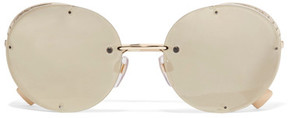 Valentino Round-frame Gold-tone Mirrored Sunglasses