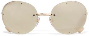 Valentino Round-frame Gold-tone Mirrored Sunglasses