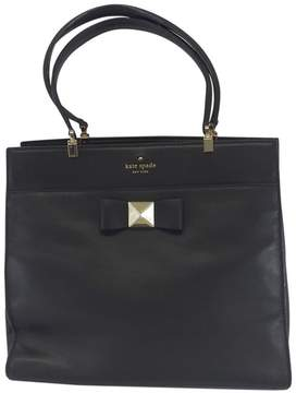 Kate Spade Black Leather Tote Bag With Bow - BLACK - STYLE