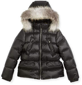 Burberry Bronwyn Quilted Puffer Coat w/ Fur Trim, Black, Size 4-14