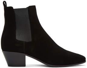 Saint Laurent Black Suede Rock Chelsea Boots