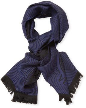 Versace Men's Fringe Sciarpa Wool Long Scarf