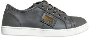 Leather Sneakers With Logo Plaque