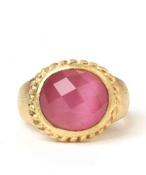 Rivka Friedman Twisted Bezel Oval Faceted Raspberry Cat's Eye Crystal Satin Ring
