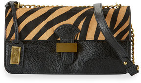 Badgley Mischka Tania Wild Leather Crossbody Bag, Animal/Orange Pattern
