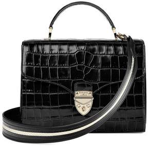 Aspinal of London Mayfair Bag In Deep Shine Black Croc With Stripe Strap