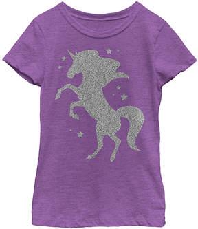 Fifth Sun Purple Berry Glitter Unicorn Tee - Girls