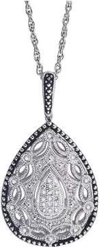 Ice Diamond Necklace 1/8 ct tw Round-cut 10K White Gold