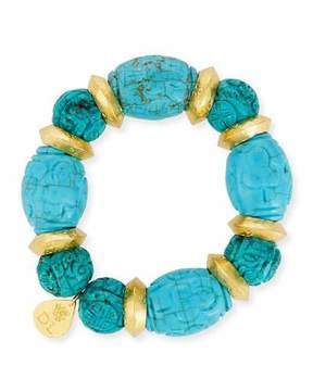 Devon Leigh Carved Turquoise Bead Bracelet