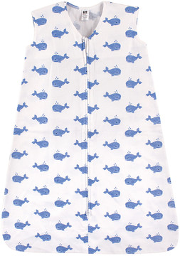 Hudson Baby White & Blue Whale Zip-Up Sleeping Bag - Newborn & Infant