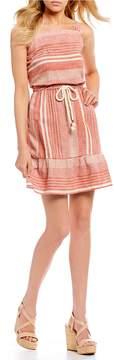 Copper Key Ruffle Hem Striped Dress