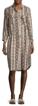 Melissa Odabash Snake-Print Long-Sleeve Shirtdress