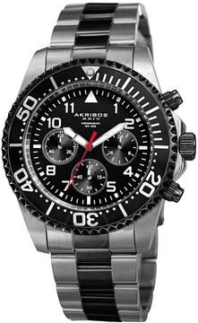 Akribos XXIV Black Dial Two-Tone Chronograph Men's Watch