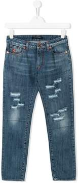 European Culture Kids TEEN distressed-effect jeans