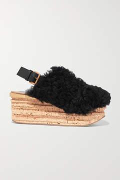 Chloé Camille Leather-trimmed Shearling Platform Slingback Sandals - Black