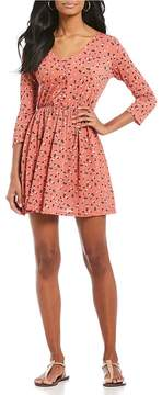 Copper Key Ditzy Floral Printed Long Sleeve Fit-And-Flare Dress