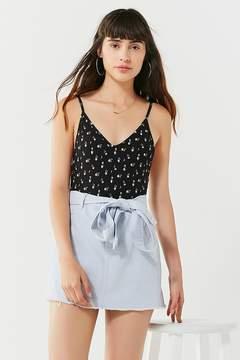 Twill Frayed Mini Skirt