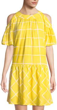 Moon River Windowpane Drop-Waist Dress