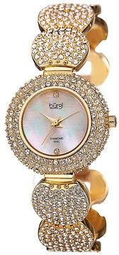 Burgi Mother of Pearl Diamond Dial Gold-tone Base Metal Case Ladies Watch
