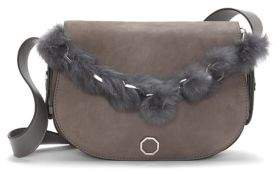 Louise et Cie Averi Leather and Rabbit Fur Crossbody Bag