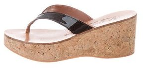 K Jacques St Tropez Patent Leather Slide Sandals