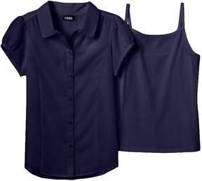 Chaps Girls 7-16 School Uniform Blouse & Camisole Set