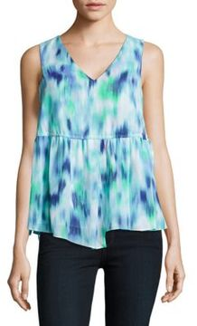 Ellen Tracy Mediterranean Escape Tie Waist Top
