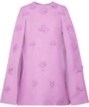 Valentino Cape-effect Appliquéd Wool And Silk-blend Mini Dress - Lavender