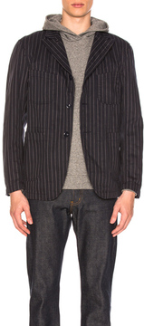 Engineered Garments Gangster Stripe Bedford Jacket in Blue,Stripes.