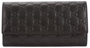 Gucci Black Signature Leather Continental Wallet - BLACK - STYLE