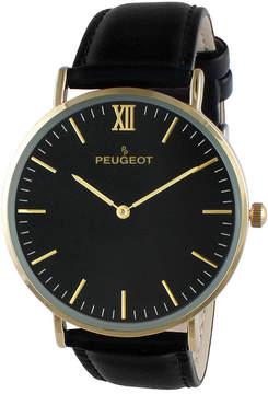Peugeot Men's Black Leather Ultra Slim Strap Watch 2050G